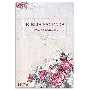 Bíblia NVI Letra Gigante Rosas e Pássaros