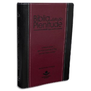 Bíblia de Estudo Plenitude Preta e Vinho sem índice