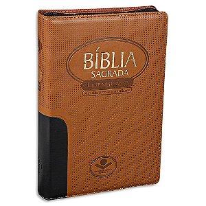 Bíblia Letra Gigante RA capa Marrom com zíper