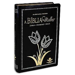 A Bíblia da Mulher RA Média Preta Tulipa Brilho