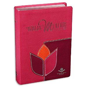 A Bíblia da Mulher RC capa Rosa e Vinho Média