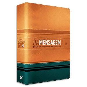 Bíblia A Mensagem capa Laranja e Verde Luxo