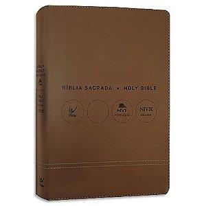 Bíblia NVI Bílingue Português-Inglês capa luxo marrom