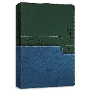 Bíblia NVI Bílingue Português-Inglês capa luxo verde e azul