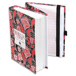 Bíblia Fonte de Bençãos com caderno para anotações capa flor