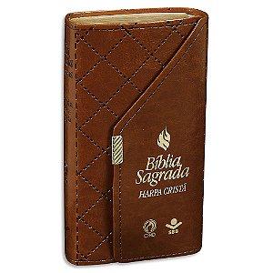 Bíblia com Harpa RC capa Marrom tipo Carteira