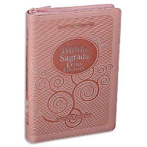 Bíblia Sagrada da Mulher RA Letra Gigante capa Rosa e zíper