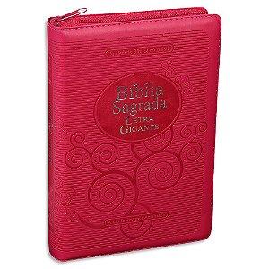 Bíblia Sagrada da Mulher RA Letra Gigante capa Pink e zíper
