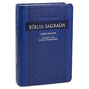Bíblia Letra Gigante RC capa Azul e Letras Vermelhas