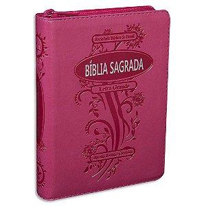 Bíblia Letra Grande com Zíper Pink