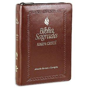 Bíblia com Harpa RC Letra Maior Fonte de Bençãos Zíper Marrom