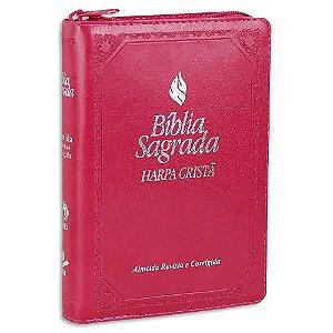 Bíblia Feminina com Harpa Rosa Fonte de Bençãos e Zíper