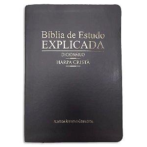 Bíblia de Estudo Explicada Dicionário e Harpa Cristã Preta