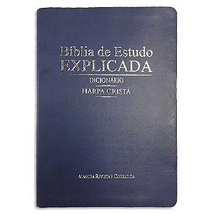 Bíblia de Estudo Explicada Dicionário e Harpa Cristã Azul