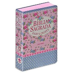 Bíblia Sagrada com Harpa Letra Grande Florida Rosa e Azul