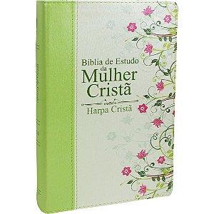 Bíblia de Estudo da Mulher Cristã com Harpa capa Verde