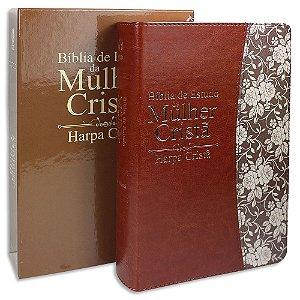 Bíblia de Estudo da Mulher Cristã com Harpa capa Marrom