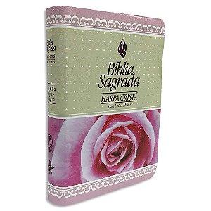 Bíblia Feminina com Harpa Letra Maior Rosas