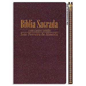 Bíblia com Cantor Cristão RC Média Vinho com zíper