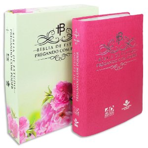 Bíblia de Estudo Pregando com Poder Rosa