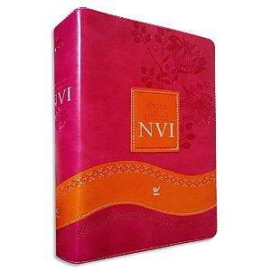 Bíblia de Estudo NVI Rosa e Laranja com Índice