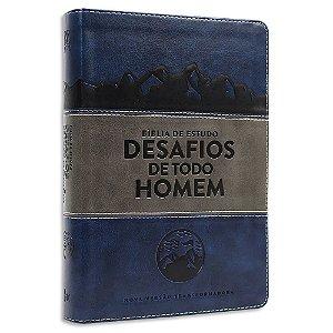 Bíblia de Estudo Desafios de Todo Homem NVT Azul