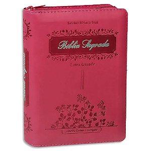 Bíblia Sagrada Letra Grande Pink Pequena Índice e Zíper