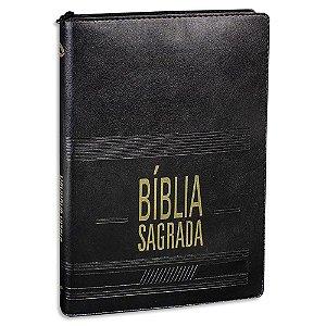 Bíblia NAA Preta Slim Índice Digital e Zíper