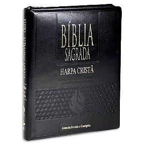 Bíblia com Harpa Letra Gigante Índice e Zíper Preta