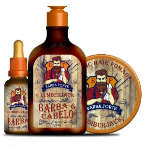 Combo Lenhador - Óleo para Barba + Shampoo Barba e Cabelo + Pomada Lumberjack - 3 Produtos