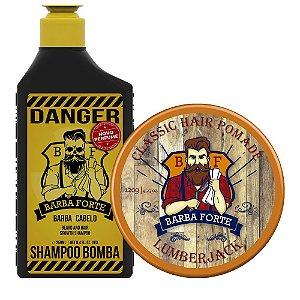 Shampoo Bomba Danger e Pomada Lumberjack (2 Produtos)