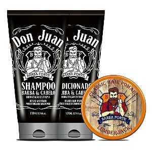 Combo Barba Forte Shampoo e Condicionador Dun Juan + Pomada Lumberjack (3 Produtos)