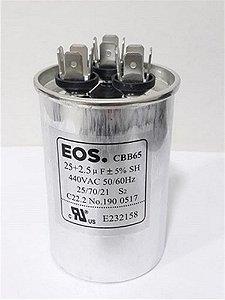Capacitor permanente duplo 25+2.5 MFD 440V com terminal EOS