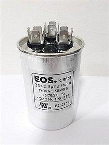 Capacitor permanente duplo 25+2,5 MFD 380V com terminal EOS