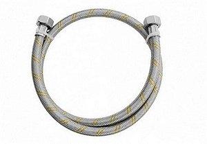 Mangueira flexível aço inox para gás rosca FxF 1/2 - 2,00m comprimento