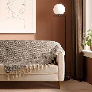 Manta para sofá Jacquard egípcio bege branco