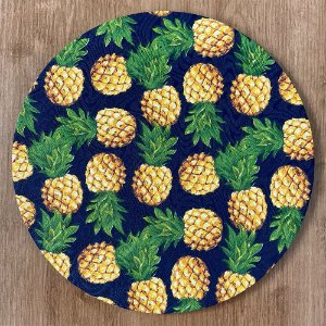 Sousplat Jacquard abacaxi azul marinho