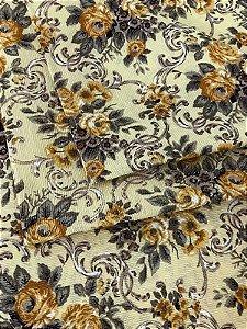 Tecido Gorgurinho Floral Vintage Amarelo