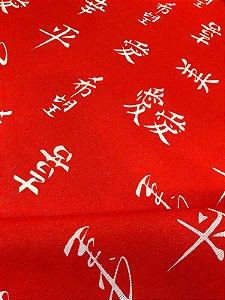 Tecido Gorgurinho Oriental Japonês Vermelho
