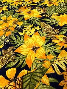 Tecido Gorgurinho Floral Amarelo Azul Marinho
