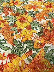 Tecido Gorgurinho floral laranja