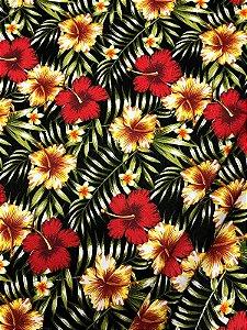 Tecido Jacquard floral preto vermelho