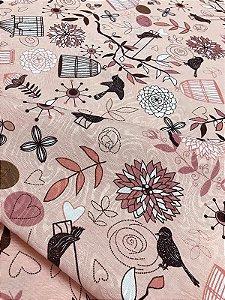 Tecido Jacquard pássaros rosa