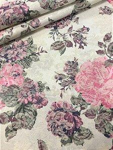 Tecido Jacquard floral vintage rosa lilás