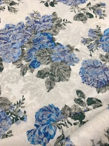 Tecido Jacquard floral vintage azul