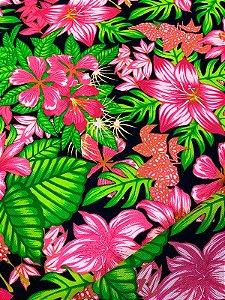 Tecido Gorgurinho floral rosa marinho
