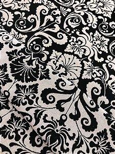 Tecido Jacquard medalhão branco e preto - Dupla-face