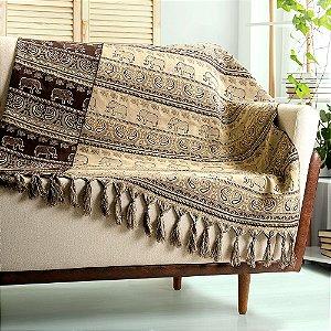 Manta para sofá Jacquard indiano bege marrom dupla face