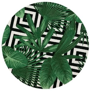 Sousplat Jacquard folhas geométrico verde