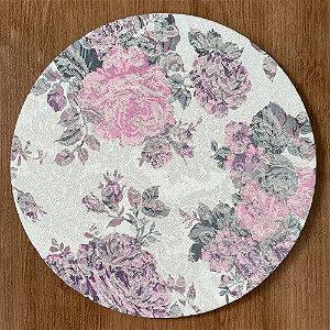 Sousplat Jacquard floral rosa